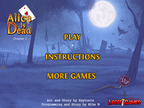 Alice is Dead: Chapter 1 Browser Main menu
