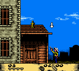 Lucky Luke: Desperado Train Game Boy Color Examining the ledge to climb on