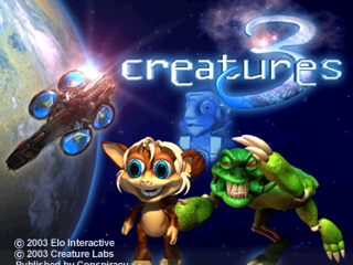 Creatures: Raised in Space PlayStation Title screen