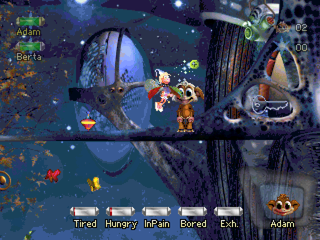 Creatures: Raised in Space PlayStation Petting a Norn.