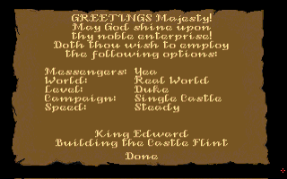 Castles Amiga Menu screen