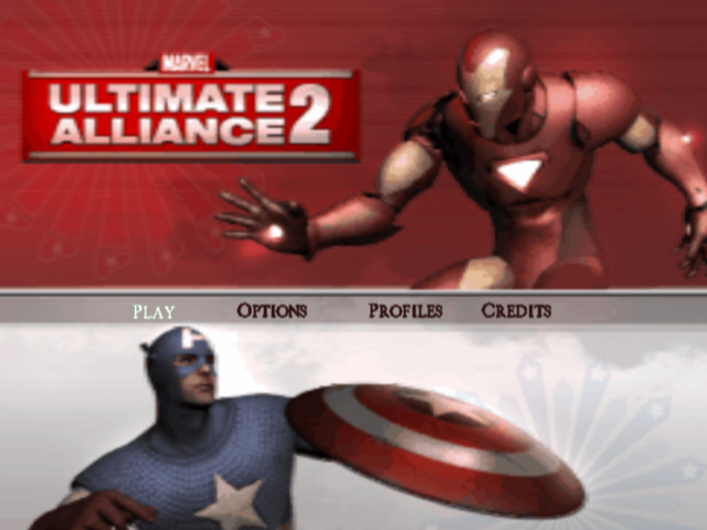 Marvel Ultimate Alliance 2 PlayStation 2 Main menu