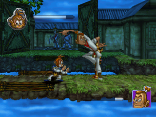 Monkey Magic PlayStation Fighting an enemy.