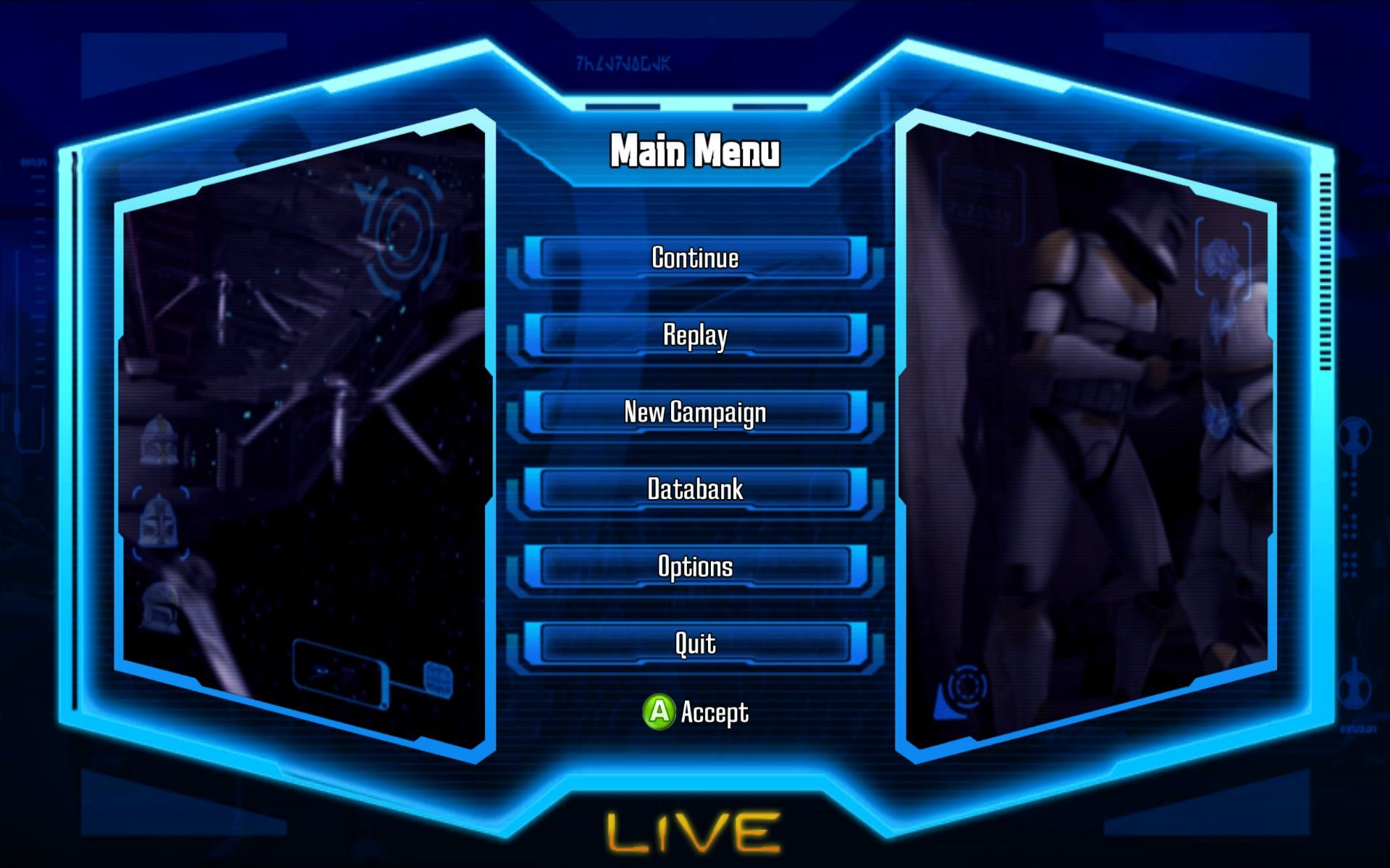 Star Wars: The Clone Wars - Republic Heroes Windows Main Menu