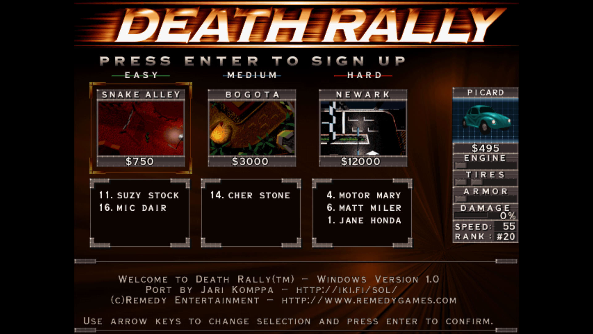 Death Rally Windows Difficulty selection