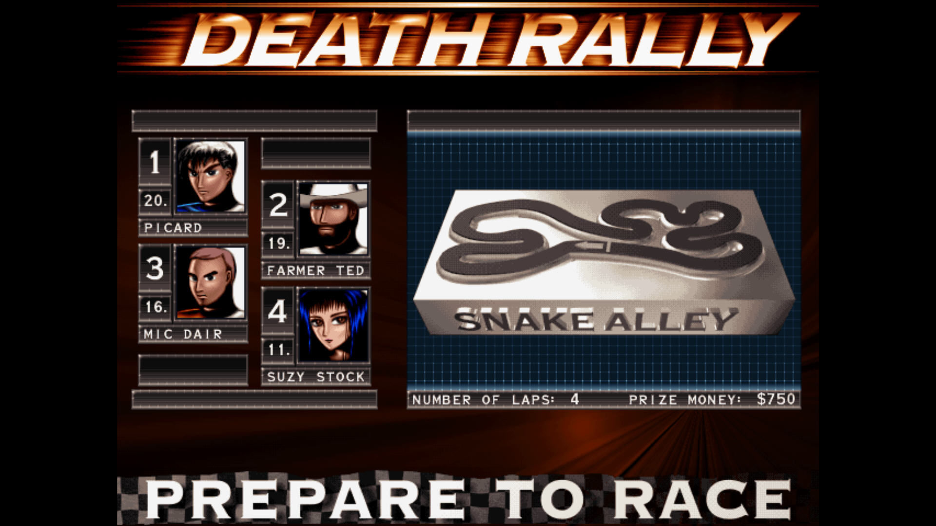 Death Rally Windows Snake alley track
