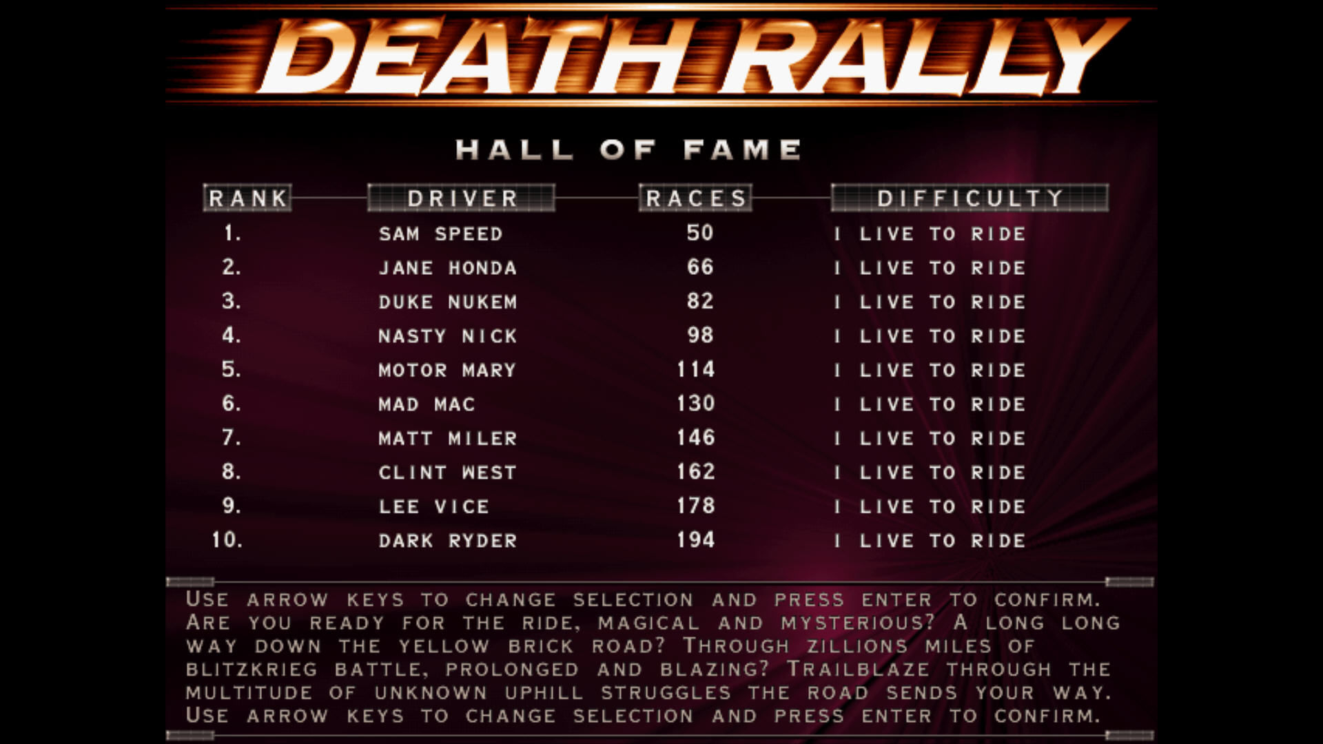Death Rally Windows Hall of fame