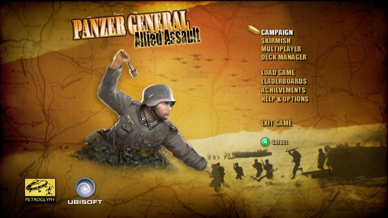 Panzer General: Allied Assault Xbox 360 Main Menu