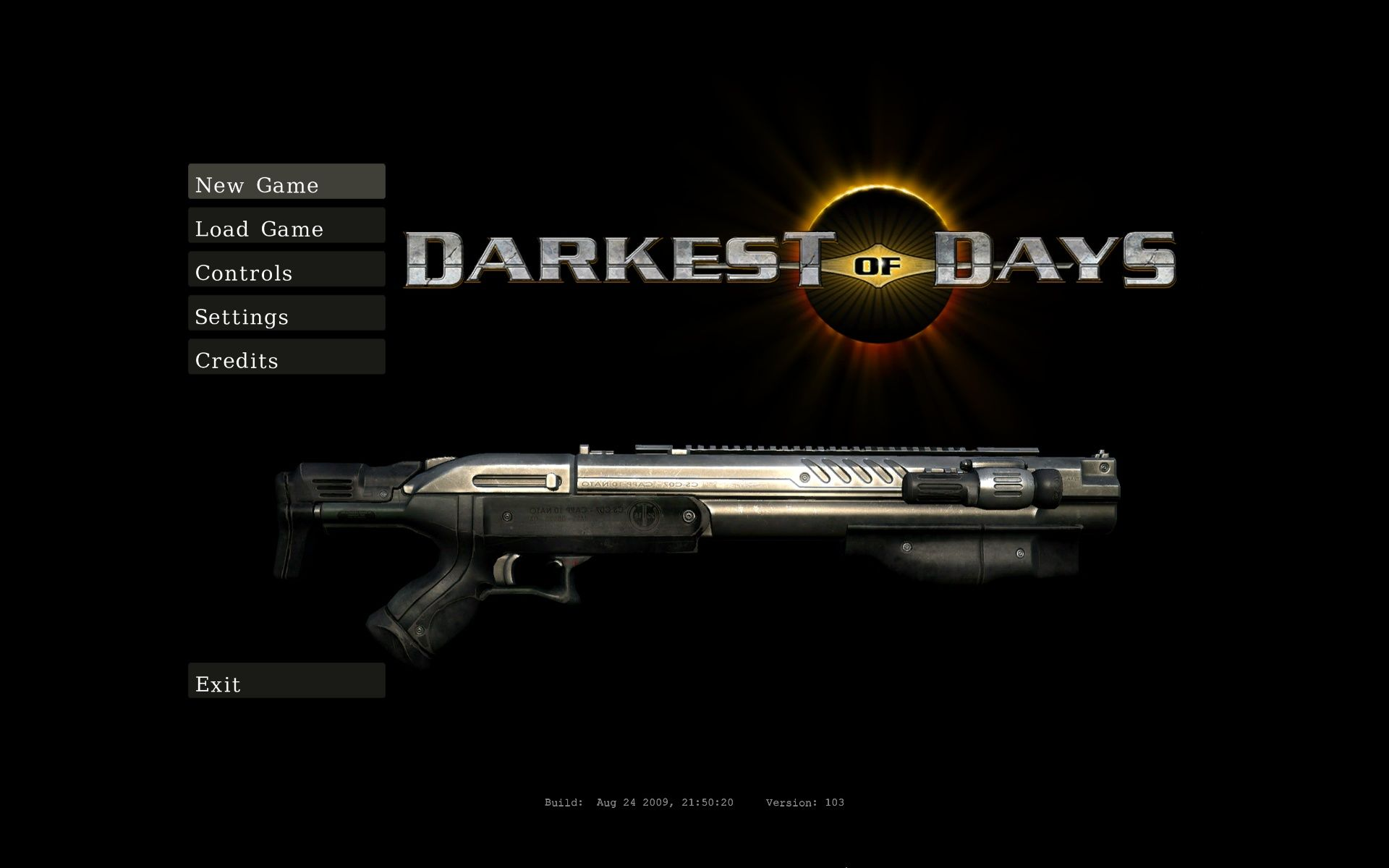 Darkest of Days Windows Main Menu