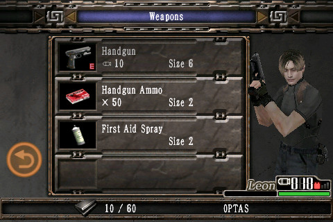 Resident Evil 4: Mobile Edition iPhone The inventory screen