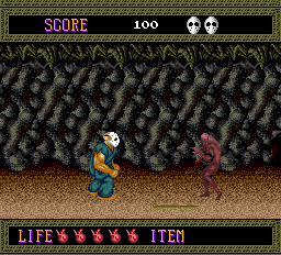 Splatterhouse TurboGrafx-16 Stage 1; the hero is eyeing that stick on the ground