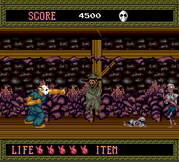 Splatterhouse TurboGrafx-16 Stage 5 has this interesting room where the wizard ghost can resurrect the zombies that the hero puts down