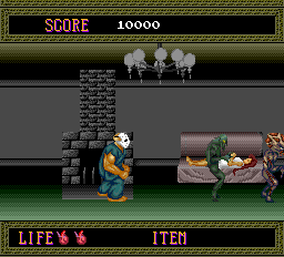 Splatterhouse TurboGrafx-16 The monsters attend to the hero's apparent girlfriend
