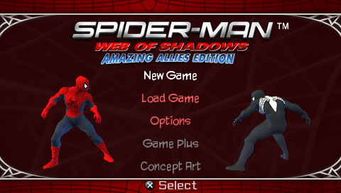 Spider-Man: Web of Shadows - Amazing Allies Edition PSP Main menu