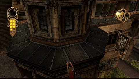 The Golden Compass PSP Lyra can hang on to ledges... like Lara