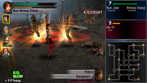 Dynasty Warriors PSP Sun Shang Xiang's special move of twirling around and stabbing people