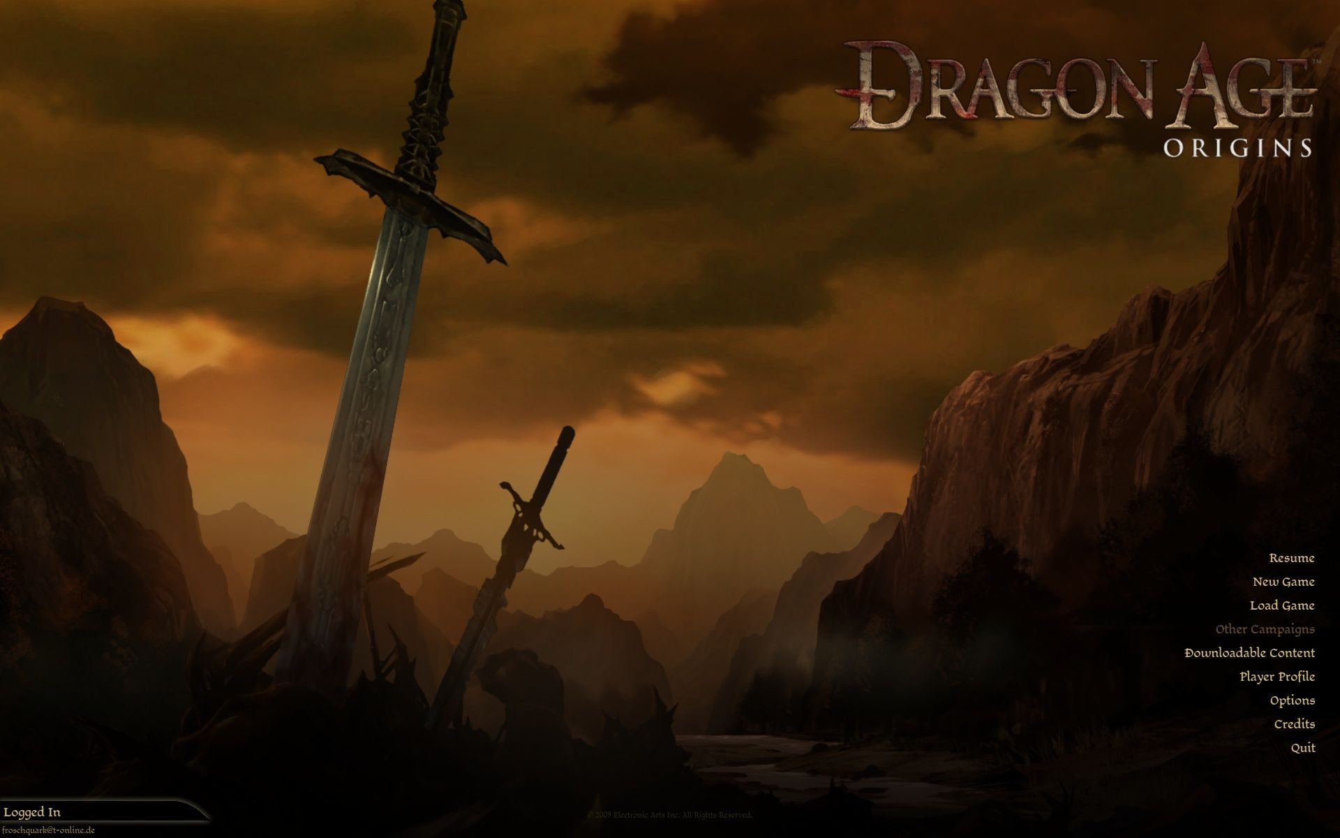 Dragon Age: Origins Windows Main Menu