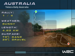 WRC: FIA World Rally Championship Arcade PlayStation The loading screen displays track info