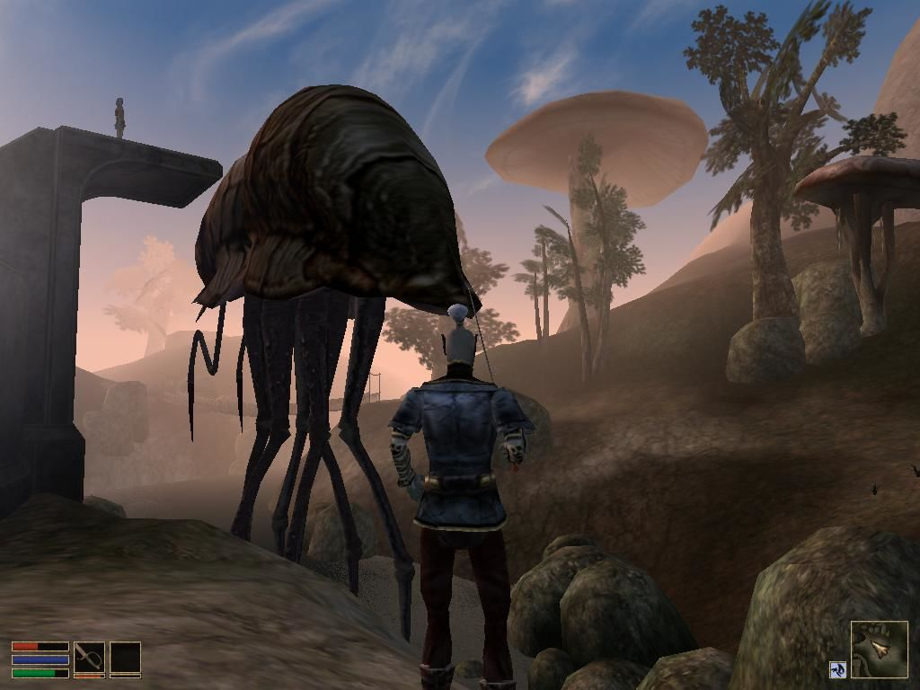 The Elder Scrolls III: Morrowind Windows Whazzup. Meeting a walker while some dreamy dude on the platform is admiring giant mushrooms