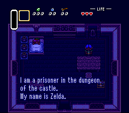The Legend of Zelda: A Link to the Past SNES Zelda calls for help
