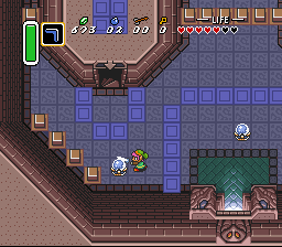 The Legend of Zelda: A Link to the Past SNES Tower of Hera - strike these crystal balls to raise or lower the blue and orange blocks