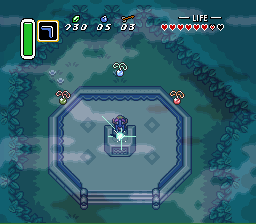 The Legend of Zelda: A Link to the Past SNES With all three Pendants, Link can draw the Master Sword