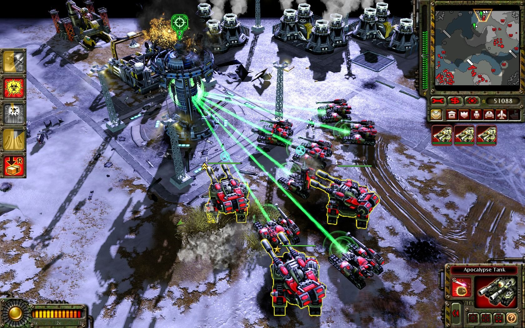 Command & Conquer: Red Alert 3 - Uprising Windows Soviet tanks taking out the objective, a Futuretech facility.