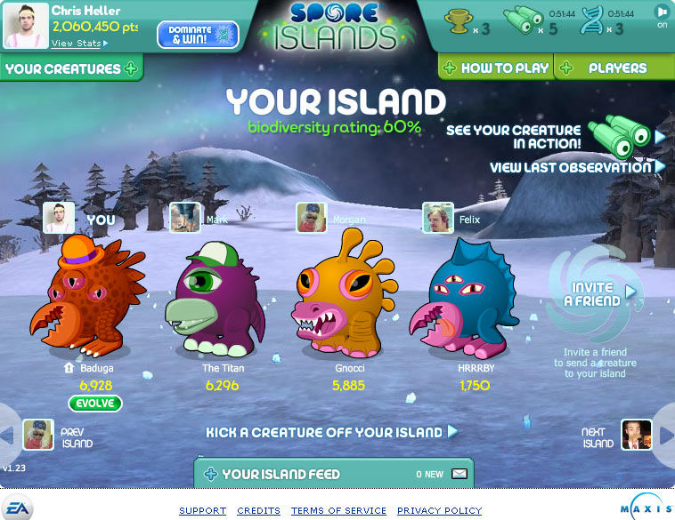 Spore Island Browser Have up to five creatures on your island.