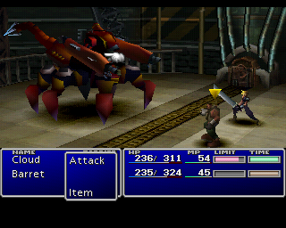 Final Fantasy VII PlayStation The first boss battle of the game