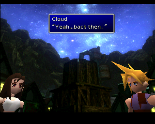 Final Fantasy VII PlayStation Yeah, back then... Nostalgic reminiscences from the past is one of FF7's main plot devices