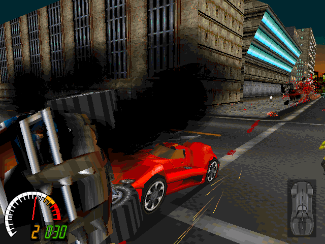 Carmageddon DOS Red beast in action. Neither too tough, nor too fast - but stubborn like all hells combined.