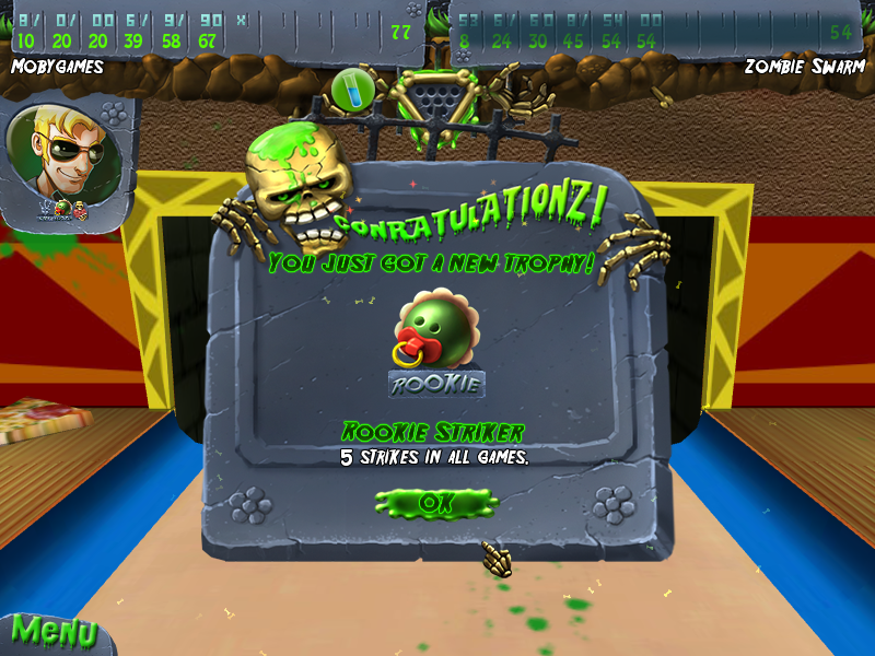 Zombie Bowl-O-Rama Windows Rookie Striker trophy