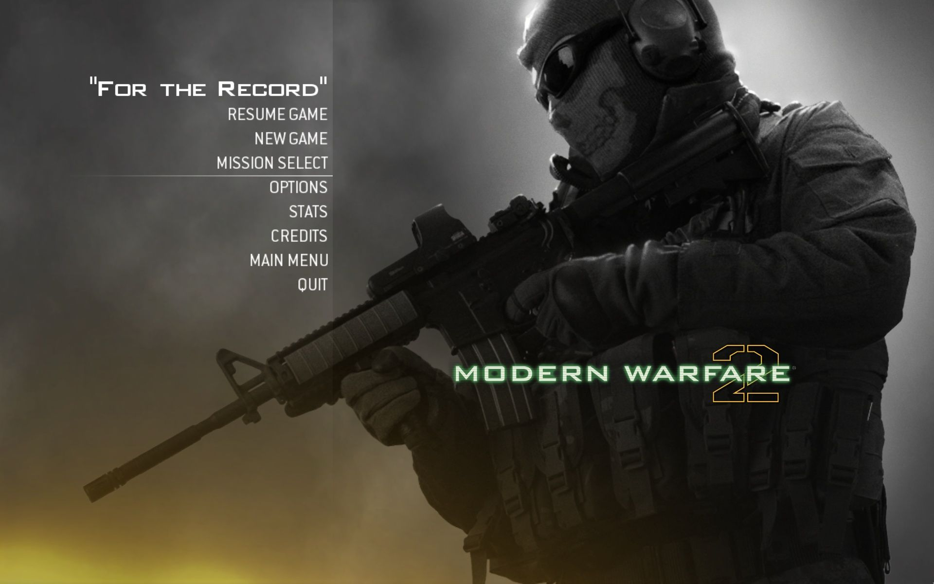 Call of Duty: Modern Warfare 2 Windows Single Player Main Menu