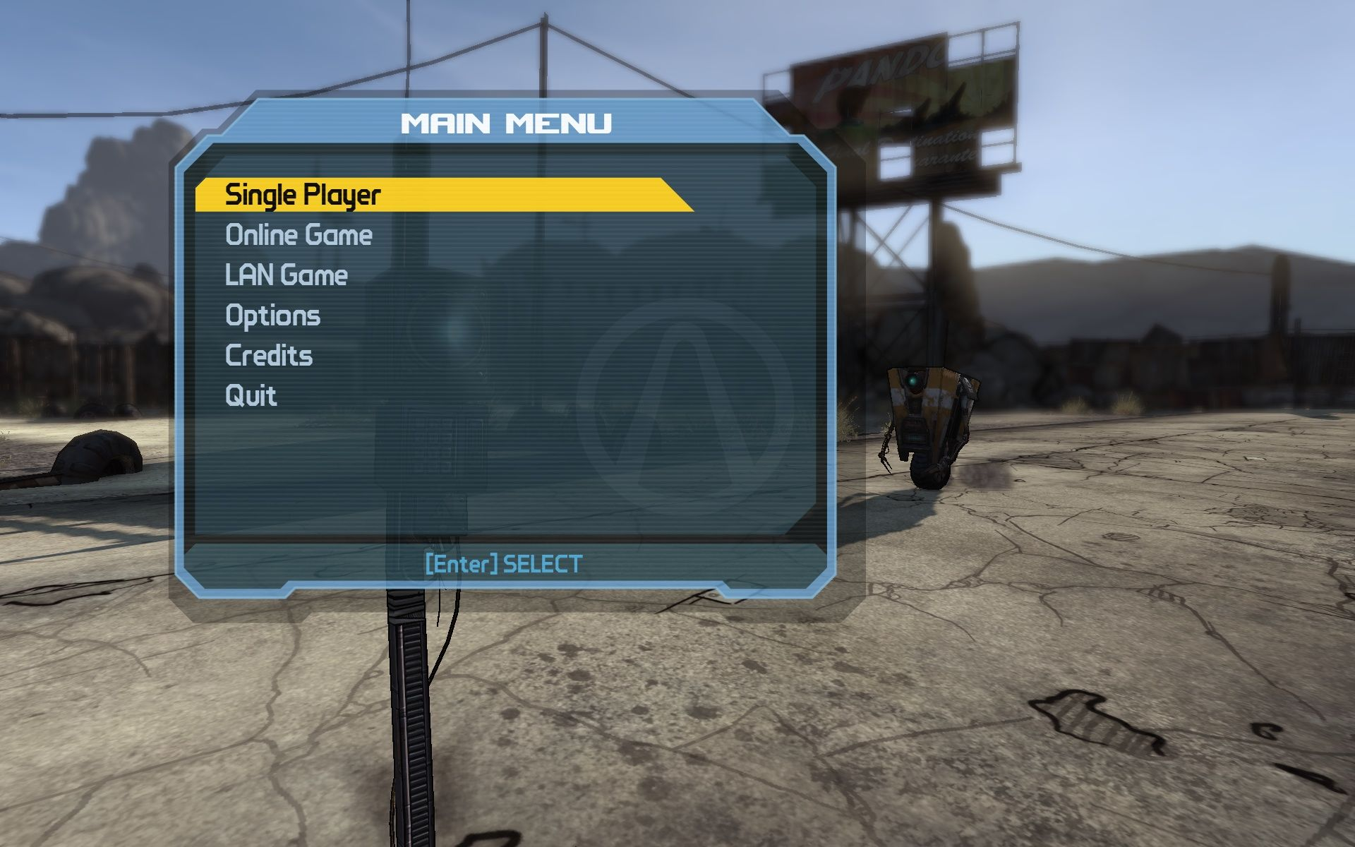 Borderlands Windows Main Menu