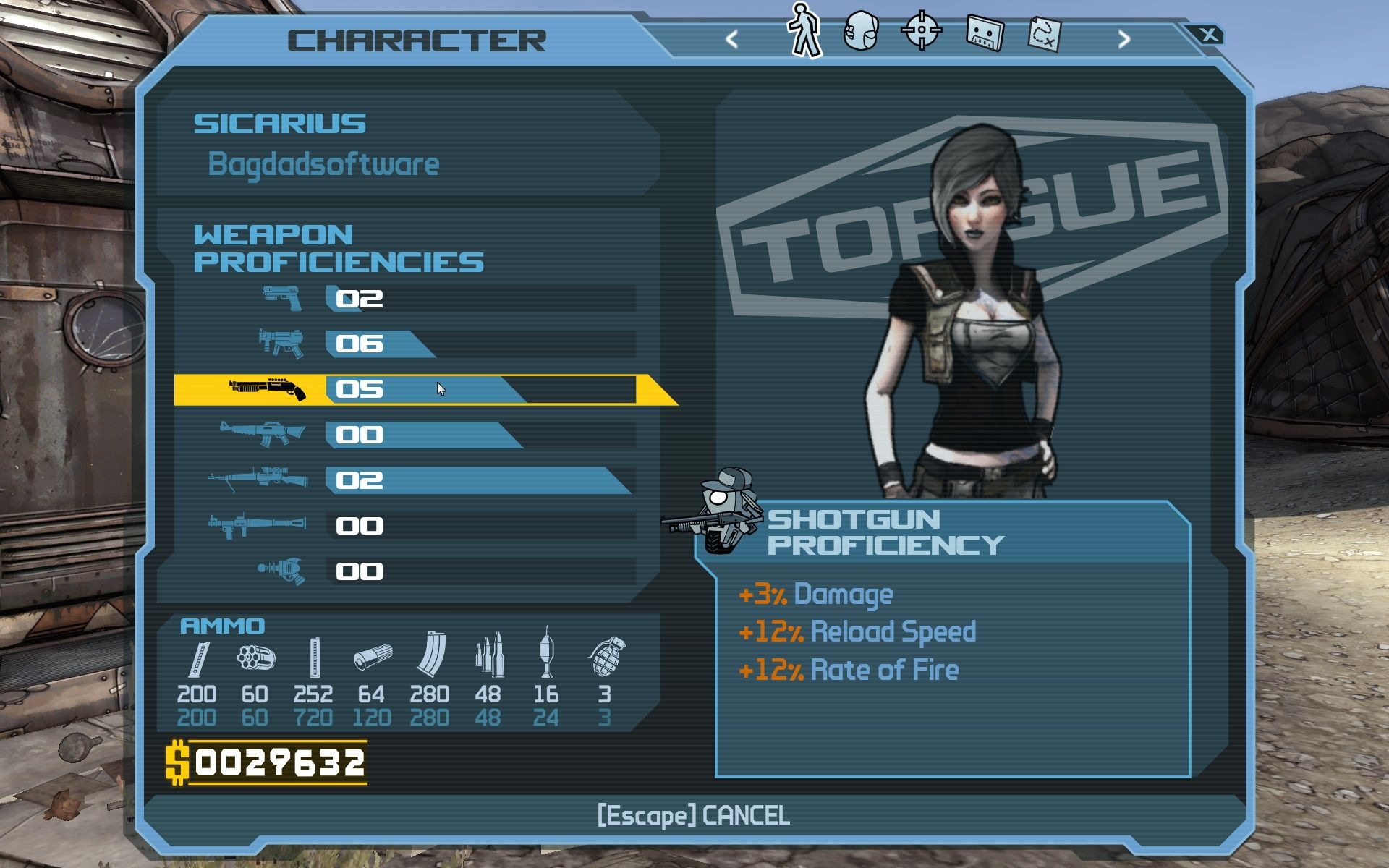 Borderlands Windows You weapons-skill increases by using those weapons.