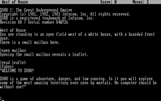 Zork: The Great Underground Empire DOS The starting location