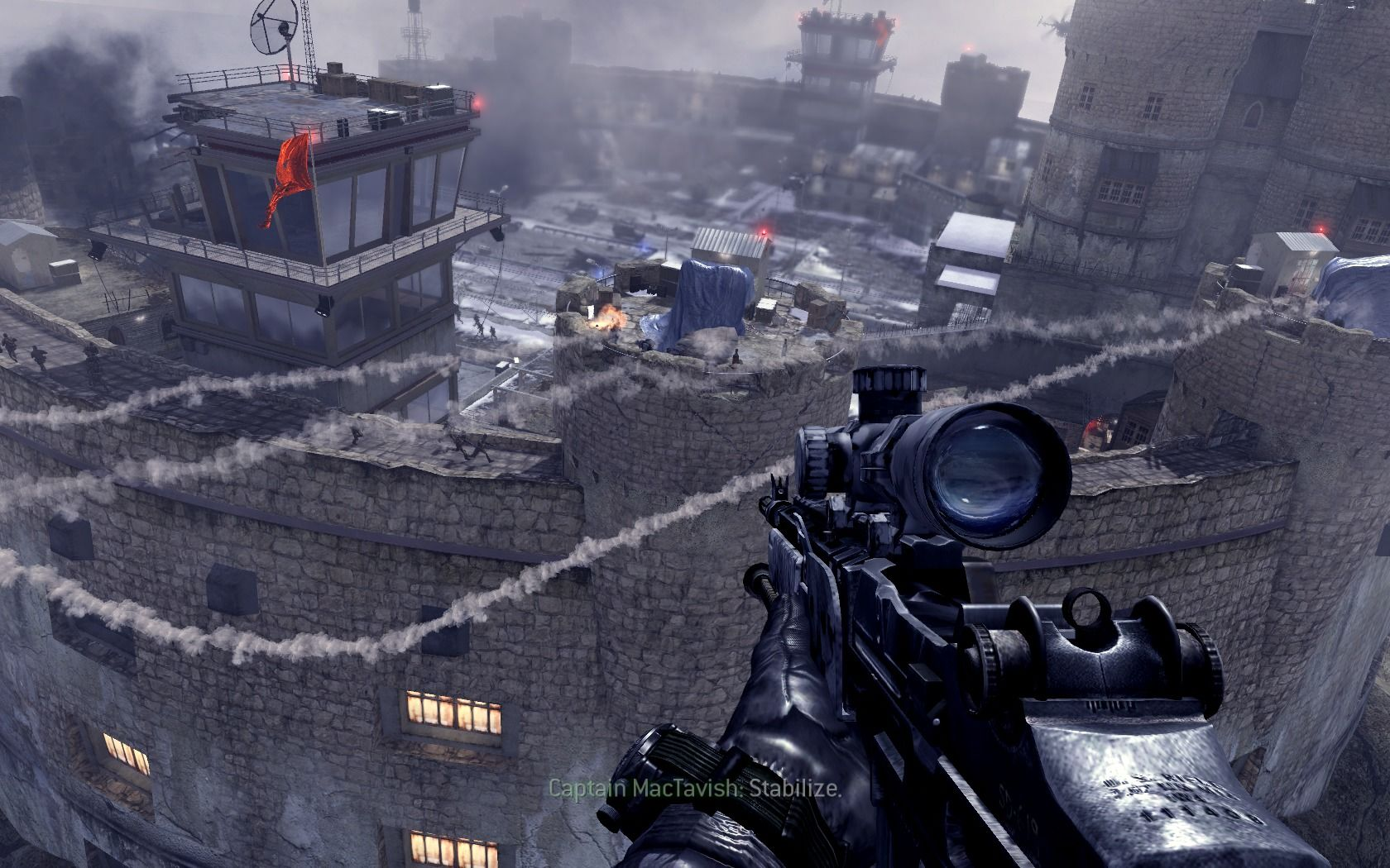 Call of Duty: Modern Warfare 2 Windows Before landing, clearing out the towers of enemy presence.