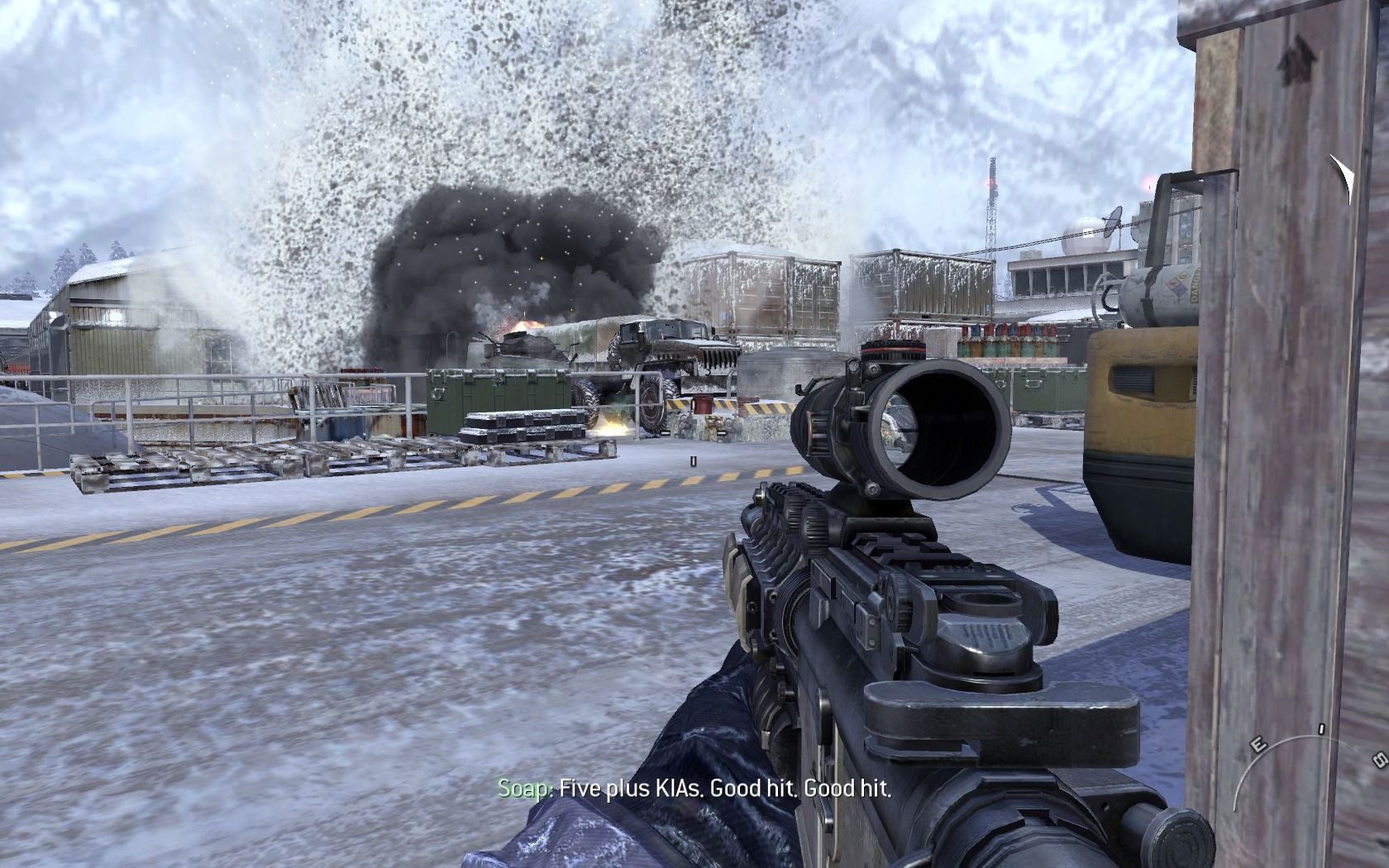 Call of Duty: Modern Warfare 2 Windows Taking out the enemy position with a guided missile.