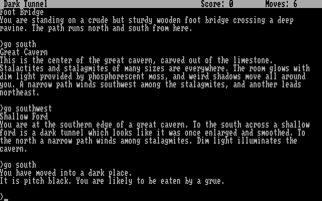 Zork II: The Wizard of Frobozz DOS It is pitch black; you are likely to be eaten by a grue.