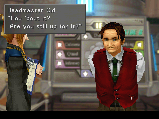 Final Fantasy VIII PlayStation This time around, the omnipresent Cid is the principal of Balamb Garden