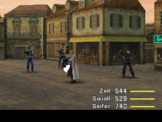 Final Fantasy VIII PlayStation Battle on the streets of Dollet