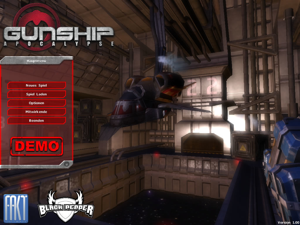 Gunship Apocalypse Windows Main menu (demo version)