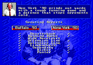 John Madden Football '93: Championship Edition Genesis John Madden comments about the two teams.