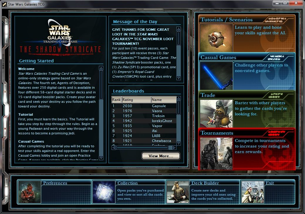 Star Wars Galaxies Trading Card Game Windows Main screen of the TCG desktop client