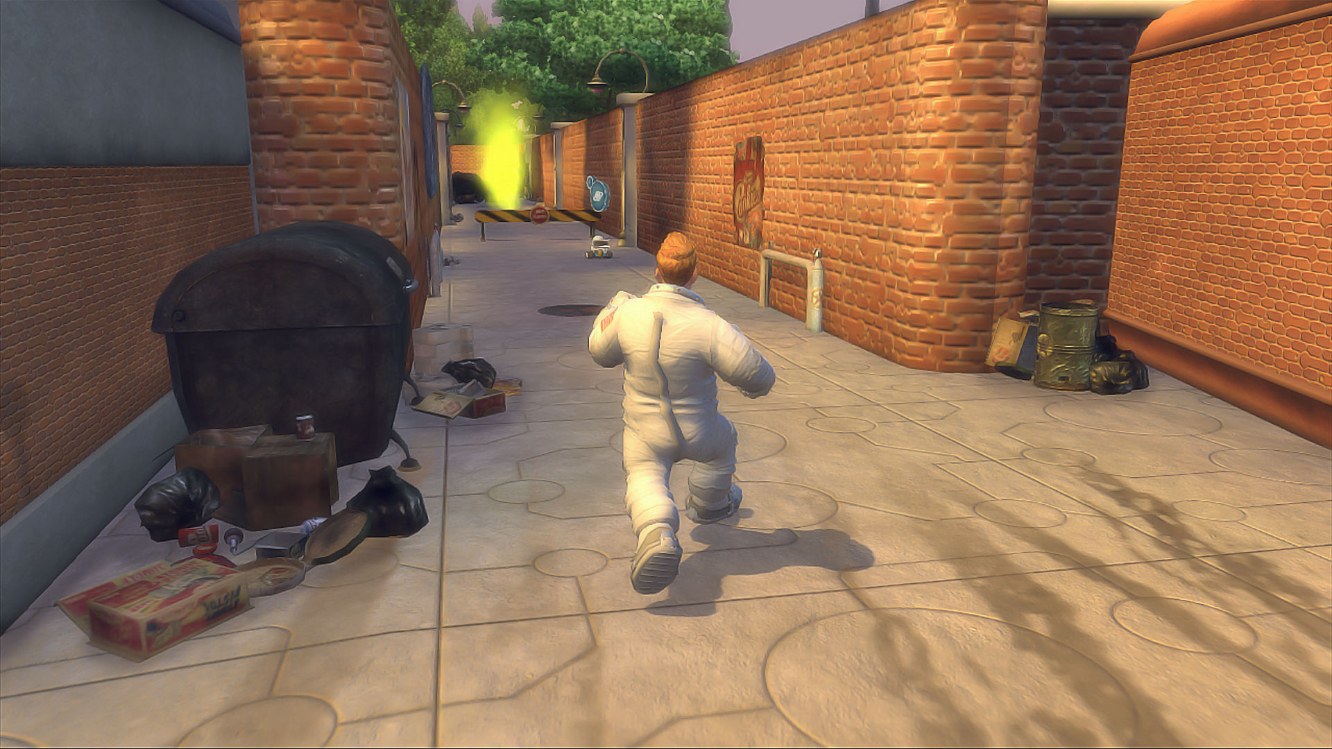 Planet 51: The Game Xbox 360 Chuck following R.O.V.E.R. through the back alley.