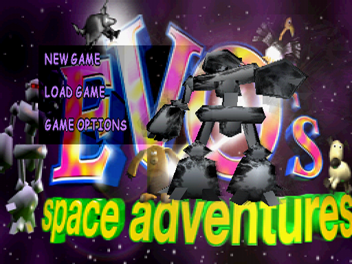 Space Station Silicon Valley PlayStation Title menu featuring a dancing Evo on the right.