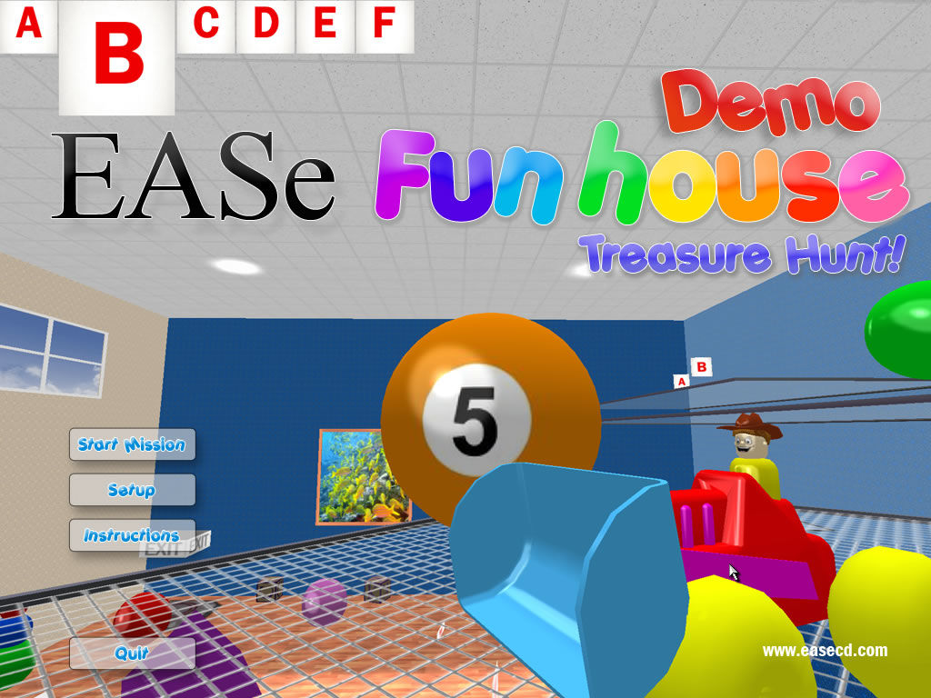 EASe Funhouse: Treasure Hunt! Windows Main menu (demo version)