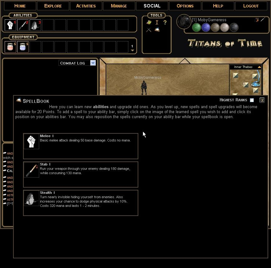 Titans of Time Browser The spellbook of a newly created assassin. Not very impressive right now.