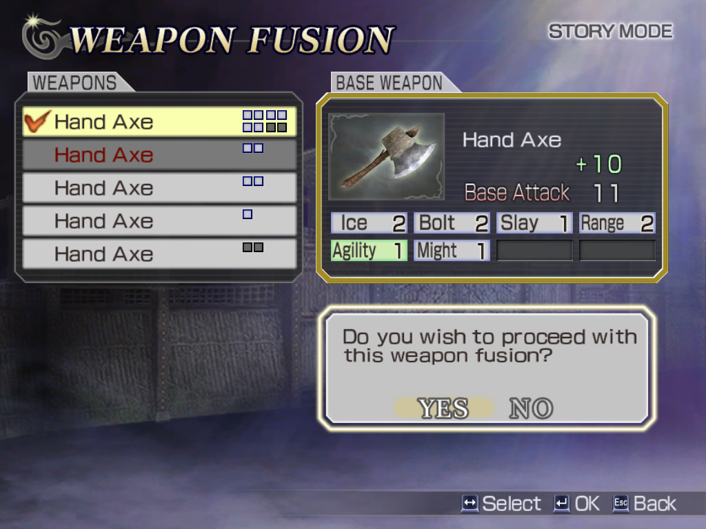 Warriors Orochi Windows Additional weapons (gained from defeating enemy officers) can be salvaged. Select a base weapon and add to it the slots/attack points/powers from other weapons. Each change costs some growth points.