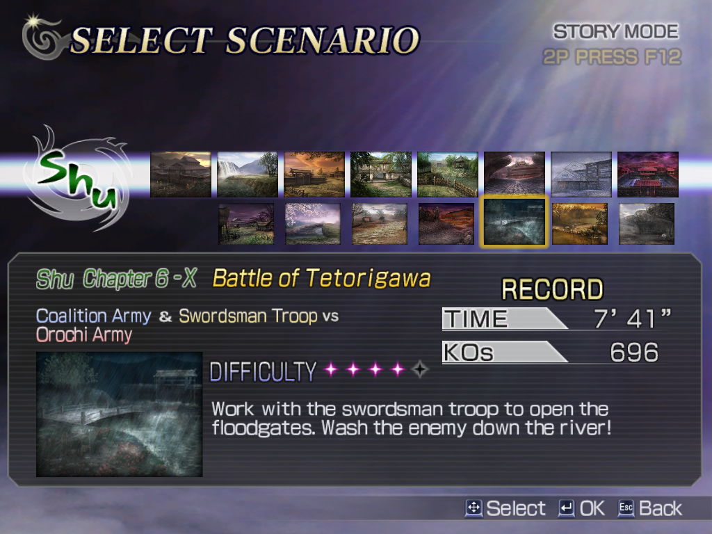 Warriors Orochi Windows Once all is set, select the scenario you want to play. Besides the main story scenarios (upper row) there are some side stories (-Xtra chapters) to play, unlocked by meeting specific requirements.